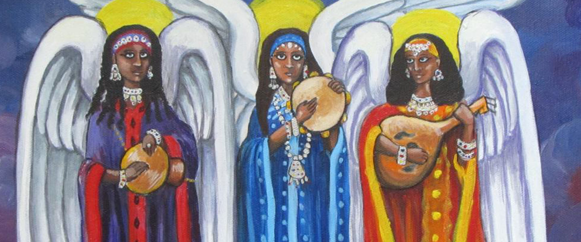Three Angels Playing Instruments Painting